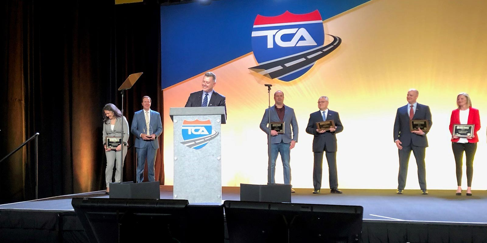 Accipting the Award for Overall Best Fleet to Driver For | Large Carrier